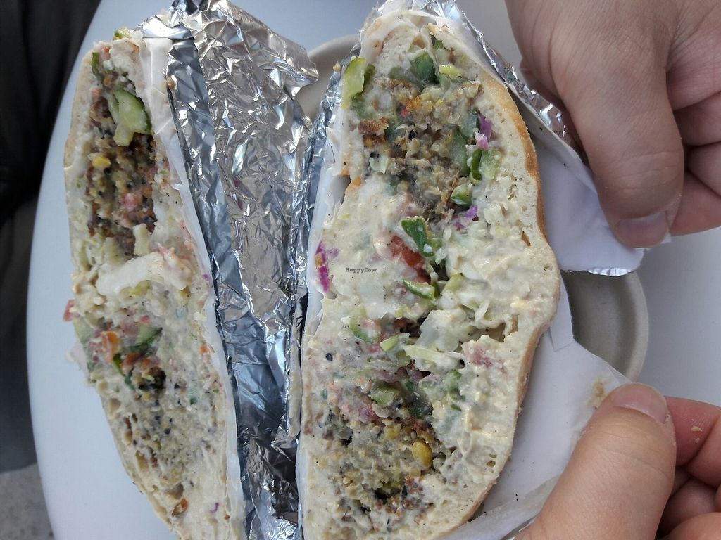"""Photo of Fala Bar  by <a href=""""/members/profile/Justinemh"""">Justinemh</a> <br/>Falafel sandwich  <br/> August 12, 2017  - <a href='/contact/abuse/image/46290/291952'>Report</a>"""