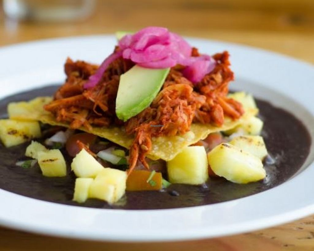 """Photo of Dos Perros  by <a href=""""/members/profile/turtleveg"""">turtleveg</a> <br/>Crispy corn tostada on a bed of traditional black beans, topped with pineapple, pickled onions, and jackfruit pibil. This was the Dos Perros entree during the 2016 Bull City Vegan Chef Challenge <br/> June 9, 2016  - <a href='/contact/abuse/image/46299/214490'>Report</a>"""