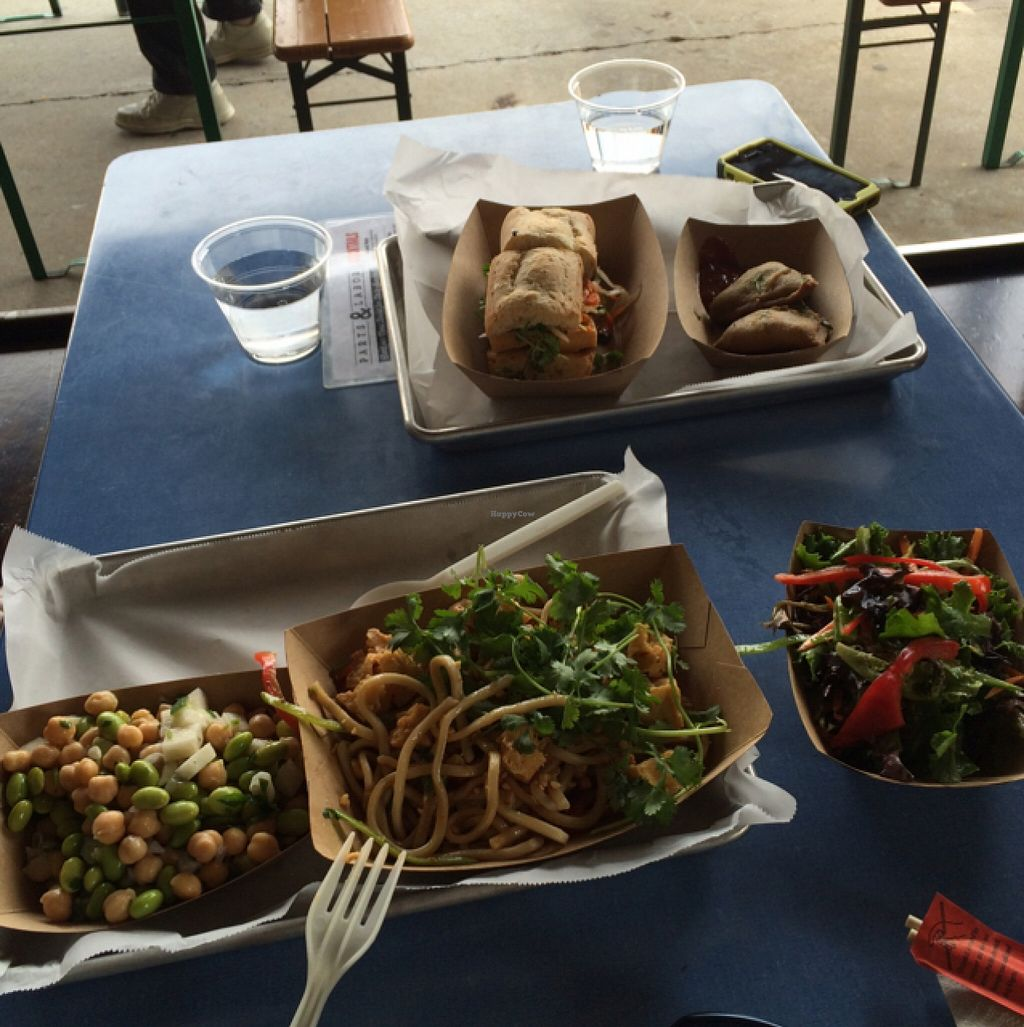 "Photo of Parts and Labor  by <a href=""/members/profile/Katie%20Le"">Katie Le</a> <br/>tofu-bang, udon sesame salad, samosa, green salad, & edamame salad-- just some of the clearly labeled vegan items <br/> August 29, 2015  - <a href='/contact/abuse/image/46300/115666'>Report</a>"