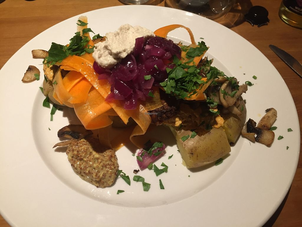 """Photo of CLOSED: Laauma  by <a href=""""/members/profile/julius_"""">julius_</a> <br/>Crashed grilled potato with tomato pesto, corn-chickpea patty, mushrooms, cashew cream, and carrots <br/> February 21, 2016  - <a href='/contact/abuse/image/46301/137212'>Report</a>"""