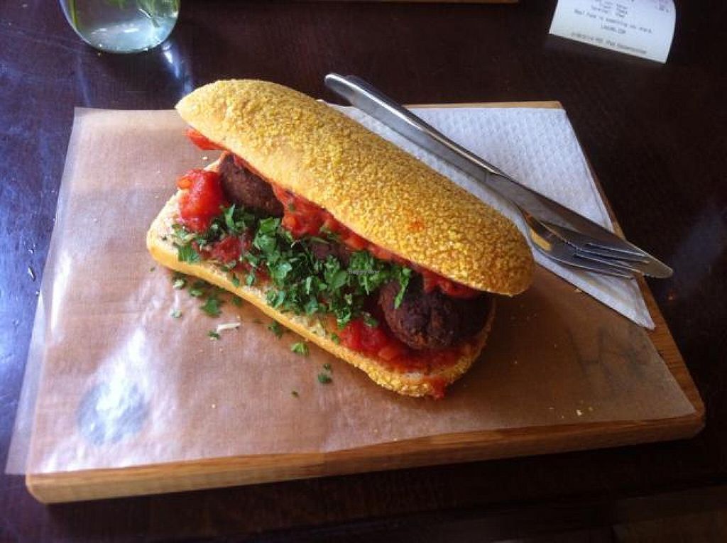 """Photo of CLOSED: Laauma  by <a href=""""/members/profile/J-Veg"""">J-Veg</a> <br/>Mr. Bean - black bean balls and tomato sauce on ciabatta <br/> July 6, 2014  - <a href='/contact/abuse/image/46301/73331'>Report</a>"""