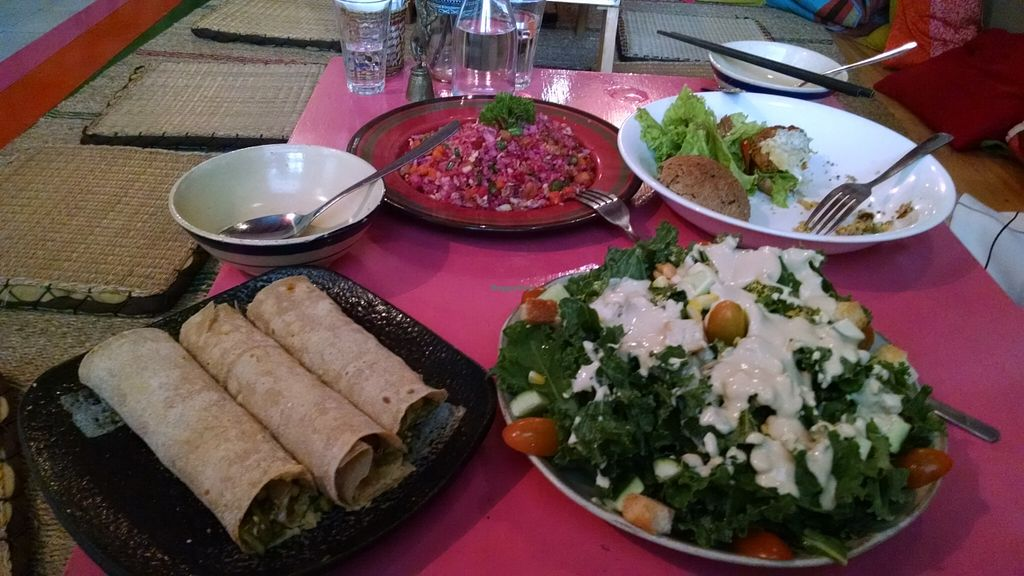 """Photo of Prem Bistro and Cafe  by <a href=""""/members/profile/melephant"""">melephant</a> <br/>chickpea burger, beet it fried rice, masala wraps, wasabi kale salad <br/> February 1, 2016  - <a href='/contact/abuse/image/46313/134642'>Report</a>"""