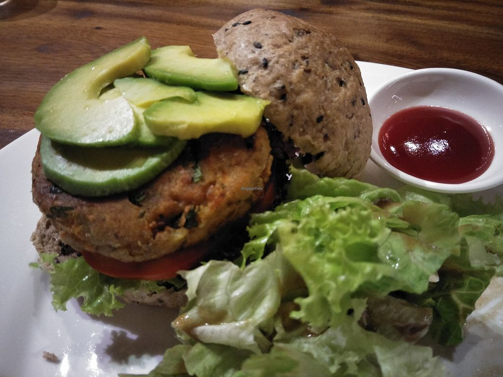 """Photo of Prem Bistro and Cafe  by <a href=""""/members/profile/RunEatWorld"""">RunEatWorld</a> <br/>Chickpea burger <br/> March 27, 2018  - <a href='/contact/abuse/image/46313/376622'>Report</a>"""