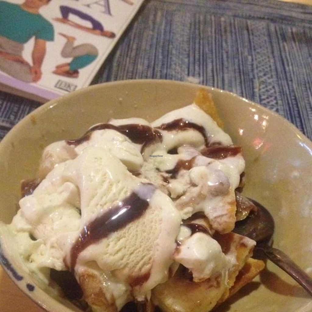 """Photo of Prem Bistro and Cafe  by <a href=""""/members/profile/Kimxula"""">Kimxula</a> <br/>yummy dessert - crackers with banana, ice cream and chocolate sauce <br/> May 19, 2014  - <a href='/contact/abuse/image/46313/70246'>Report</a>"""