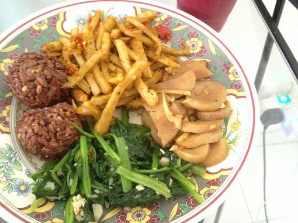 """Photo of Prem Bistro and Cafe  by <a href=""""/members/profile/Kimxula"""">Kimxula</a> <br/>prem takeout; brown rice avocado balls, spinach, mushrooms with ginger and seitan <br/> October 14, 2014  - <a href='/contact/abuse/image/46313/82923'>Report</a>"""