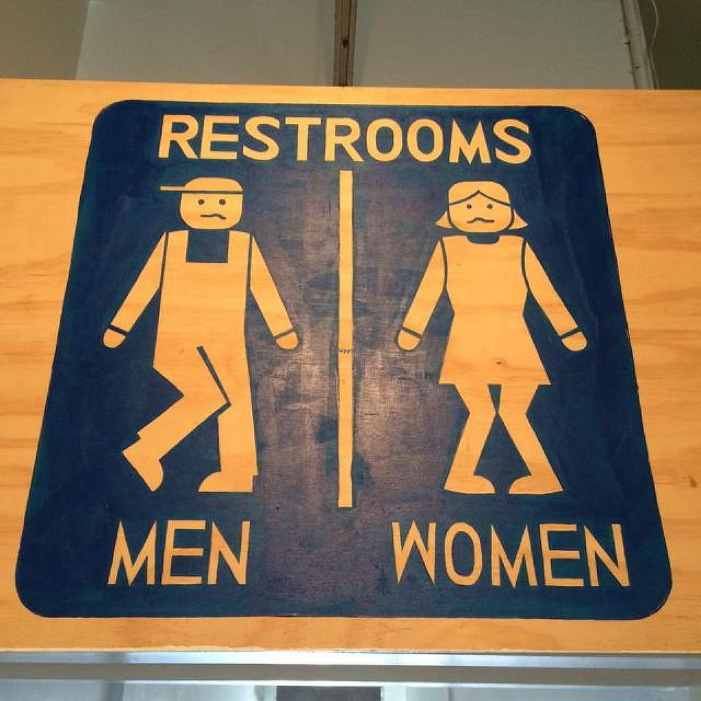 "Photo of Bloom Cafe  by <a href=""/members/profile/ellumine"">ellumine</a> <br/>Humorous restroom sign! <br/> July 27, 2014  - <a href='/contact/abuse/image/46322/75263'>Report</a>"
