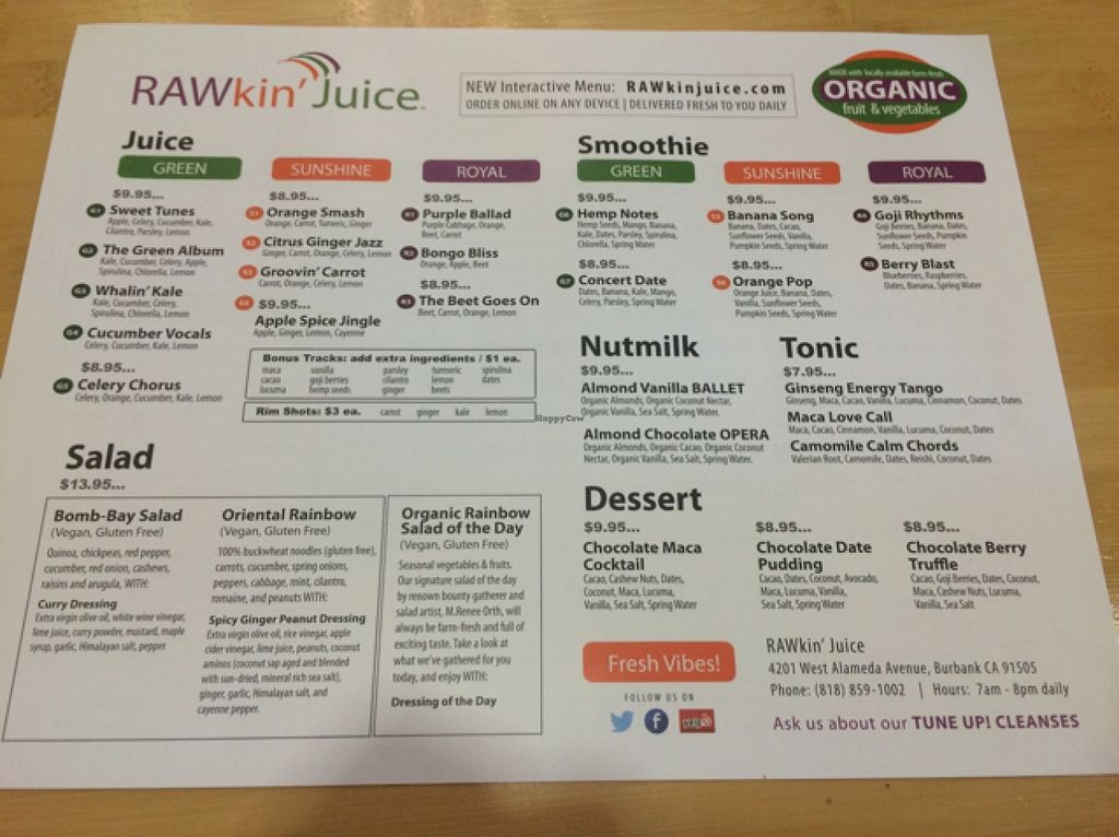 "Photo of RAWkin' Juice  by <a href=""/members/profile/serrarose"">serrarose</a> <br/>menu <br/> May 11, 2016  - <a href='/contact/abuse/image/46327/148496'>Report</a>"