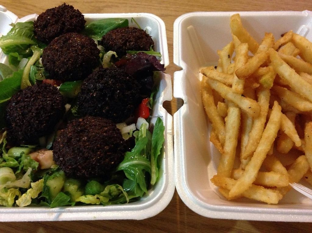 """Photo of D C Cafe  by <a href=""""/members/profile/cookiem"""">cookiem</a> <br/>Lebanese salad and fries <br/> April 25, 2014  - <a href='/contact/abuse/image/46387/191583'>Report</a>"""