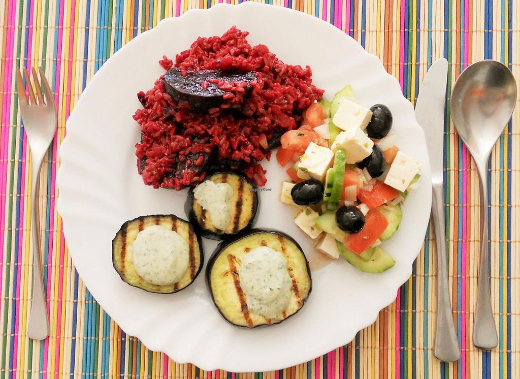 "Photo of Omassim  by <a href=""/members/profile/Claregaze"">Claregaze</a> <br/>Delicious beetroot risotto, aubegines and greek salad served with lots of love! <br/> April 12, 2014  - <a href='/contact/abuse/image/46417/67523'>Report</a>"