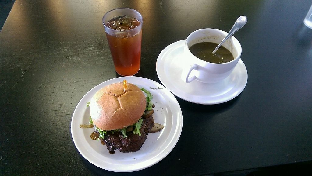 "Photo of Avocado Vegan Cafe  by <a href=""/members/profile/sunnyvale"">sunnyvale</a> <br/>Jerked Portobello Sandwich with Lentil Soup <br/> October 21, 2017  - <a href='/contact/abuse/image/46443/317309'>Report</a>"