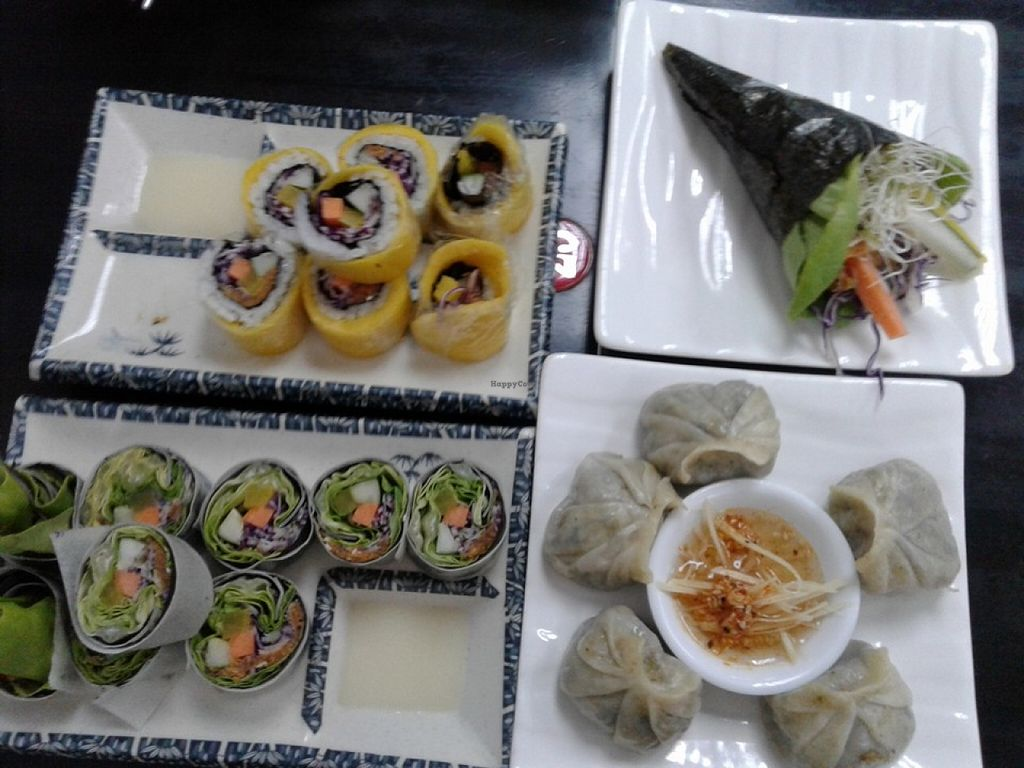 """Photo of Vege Restaurant Tong Hoe    by <a href=""""/members/profile/sfalee"""">sfalee</a> <br/>Mango Sushi, Hand roll, Garden Sushi, Xiang Chun Dumplings <br/> June 21, 2016  - <a href='/contact/abuse/image/46478/155261'>Report</a>"""