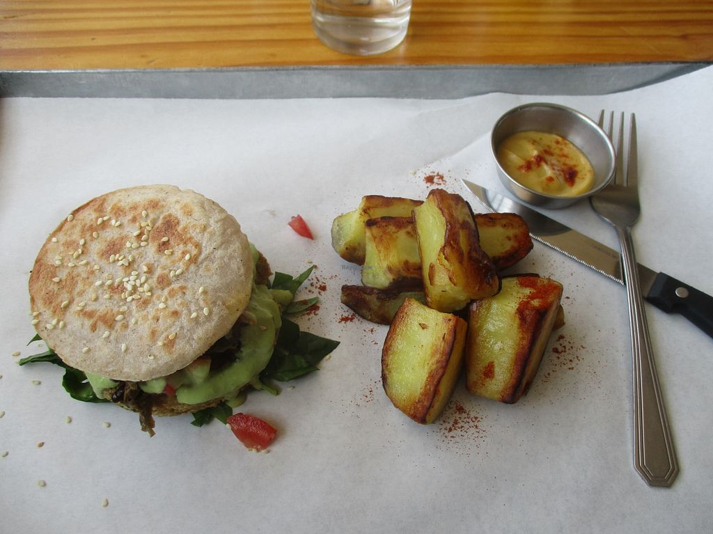 """Photo of Free Food  by <a href=""""/members/profile/Wolfmoon"""">Wolfmoon</a> <br/>Chickpea burger with sweet potatoes and coriander sauce <br/> April 26, 2016  - <a href='/contact/abuse/image/46490/146356'>Report</a>"""