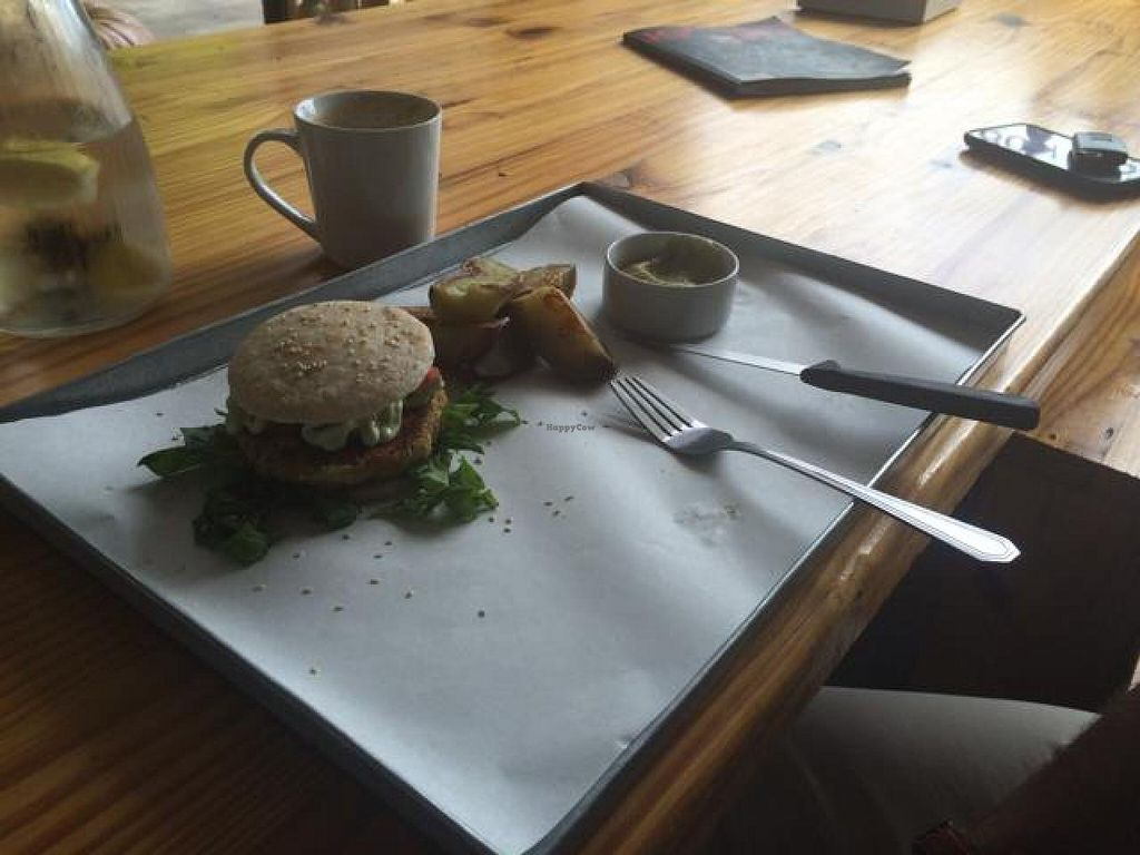 """Photo of Free Food  by <a href=""""/members/profile/Veganoms"""">Veganoms</a> <br/>Chickpea burger with potato wedges <br/> December 6, 2014  - <a href='/contact/abuse/image/46490/87311'>Report</a>"""