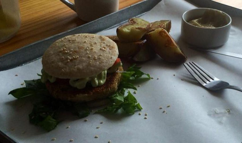 """Photo of Free Food  by <a href=""""/members/profile/Veganoms"""">Veganoms</a> <br/>Chickpea burger with potato wedges <br/> December 6, 2014  - <a href='/contact/abuse/image/46490/87335'>Report</a>"""