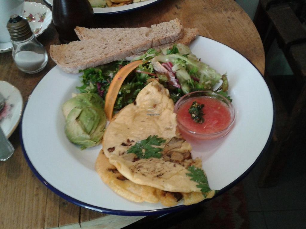 """Photo of EZ and Moss  by <a href=""""/members/profile/imogenmichel"""">imogenmichel</a> <br/>Vegan mushroom and onion pancake with avocado and toast (breakfast menu) <br/> July 23, 2014  - <a href='/contact/abuse/image/46491/74782'>Report</a>"""