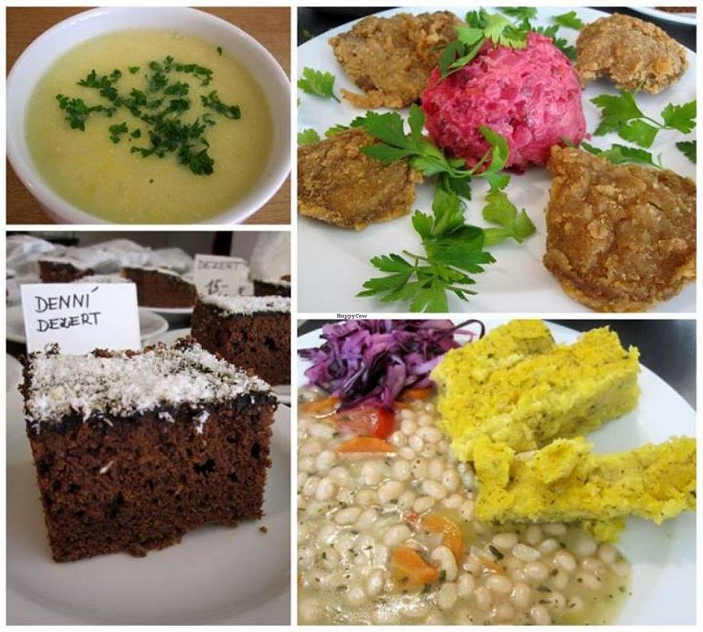 """Photo of Vegit Point  by <a href=""""/members/profile/community"""">community</a> <br/>Spicy corn soup, Breton beans salad with polenta cubes, pan-fried Oyster Mushrooms with potato salad with beets, Gingerbread with icing and coconut desset <br/> May 23, 2014  - <a href='/contact/abuse/image/46517/70597'>Report</a>"""