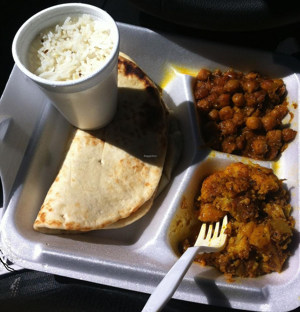 """Photo of Sall Sweet and Curry  by <a href=""""/members/profile/beasleys.ca"""">beasleys.ca</a> <br/>Lunch special: naan bread, basmati rice, aloo gobi and channa masala <br/> July 31, 2014  - <a href='/contact/abuse/image/46518/75731'>Report</a>"""