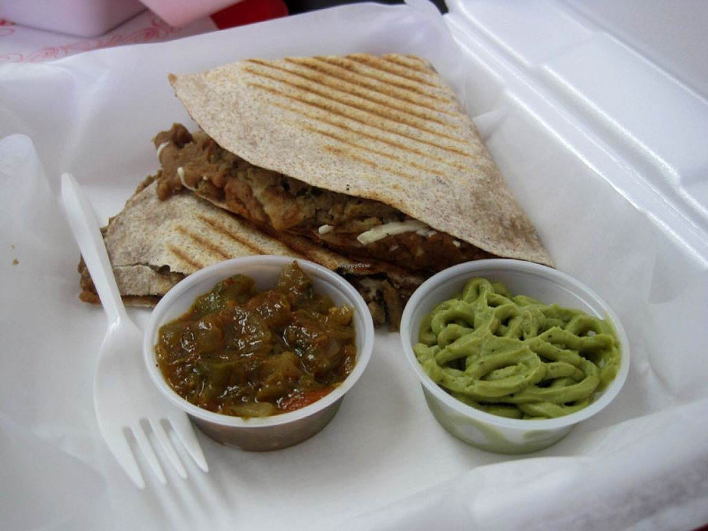 """Photo of 57 Cals  by <a href=""""/members/profile/Babette"""">Babette</a> <br/>Quesadillas (whole wheat tortilla, refried beans, vegan cheese, vegan chicken, served with salsa and guacamole). This is a good option if you don't feel like eating Middle Eastern cuisine, which is 57Cals' specialty <br/> November 2, 2015  - <a href='/contact/abuse/image/46543/123546'>Report</a>"""
