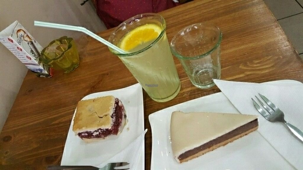 """Photo of Edes Elet Cukraszda  by <a href=""""/members/profile/sophiefp"""">sophiefp</a> <br/>cherry pie and marzipan chocolate cake, plus lemonade <br/> August 19, 2016  - <a href='/contact/abuse/image/46548/170086'>Report</a>"""