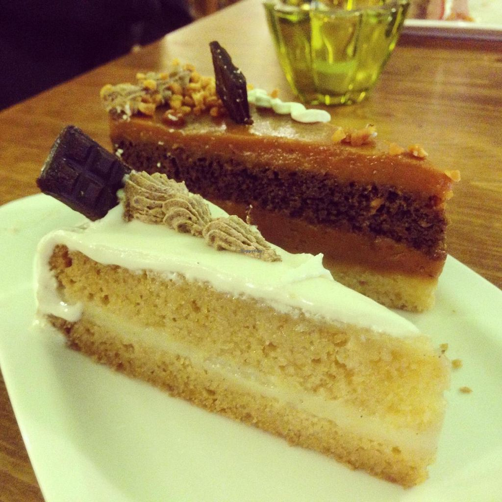 """Photo of Edes Elet Cukraszda  by <a href=""""/members/profile/onthewindowsill"""">onthewindowsill</a> <br/>Close up of marzipan cake and caramel cake <br/> May 17, 2014  - <a href='/contact/abuse/image/46548/70125'>Report</a>"""
