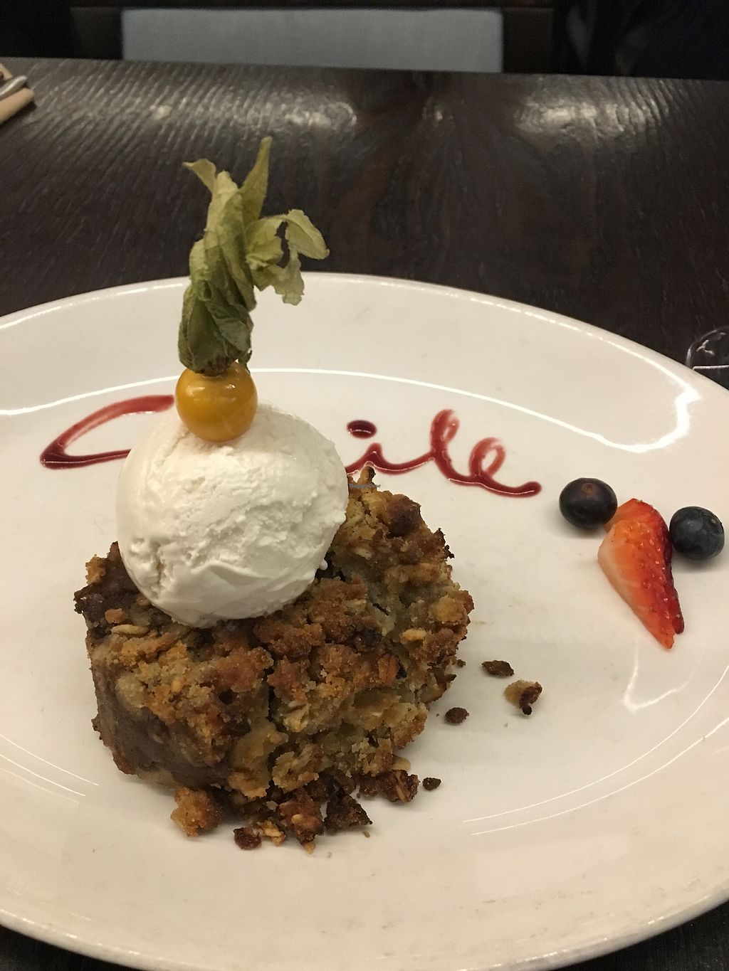 "Photo of 222 Vegan Cuisine  by <a href=""/members/profile/NatachaN%C3%B3brega"">NatachaNóbrega</a> <br/>Delicious apple crumble with vegan vanilla ice cream  <br/> March 31, 2018  - <a href='/contact/abuse/image/4655/379054'>Report</a>"