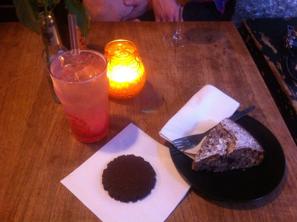 """Photo of Harbo Bar  by <a href=""""/members/profile/piffelina"""">piffelina</a> <br/>Vegan cakes! Banana-cake and brownie with rhubarb lemonade <br/> August 3, 2016  - <a href='/contact/abuse/image/46562/164772'>Report</a>"""