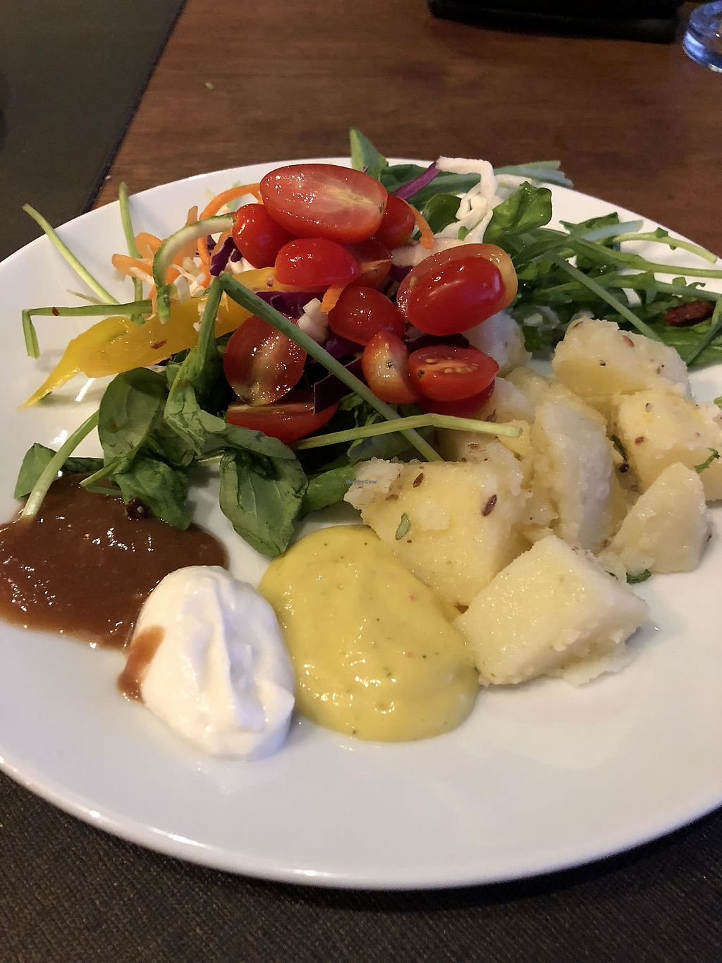 """Photo of Santosa  by <a href=""""/members/profile/CarrieLeBlanc"""">CarrieLeBlanc</a> <br/>Salad plate including cold potato salad. Mango and  Tamarind dressings, plus mayo. All delicious <br/> March 4, 2018  - <a href='/contact/abuse/image/46587/366503'>Report</a>"""