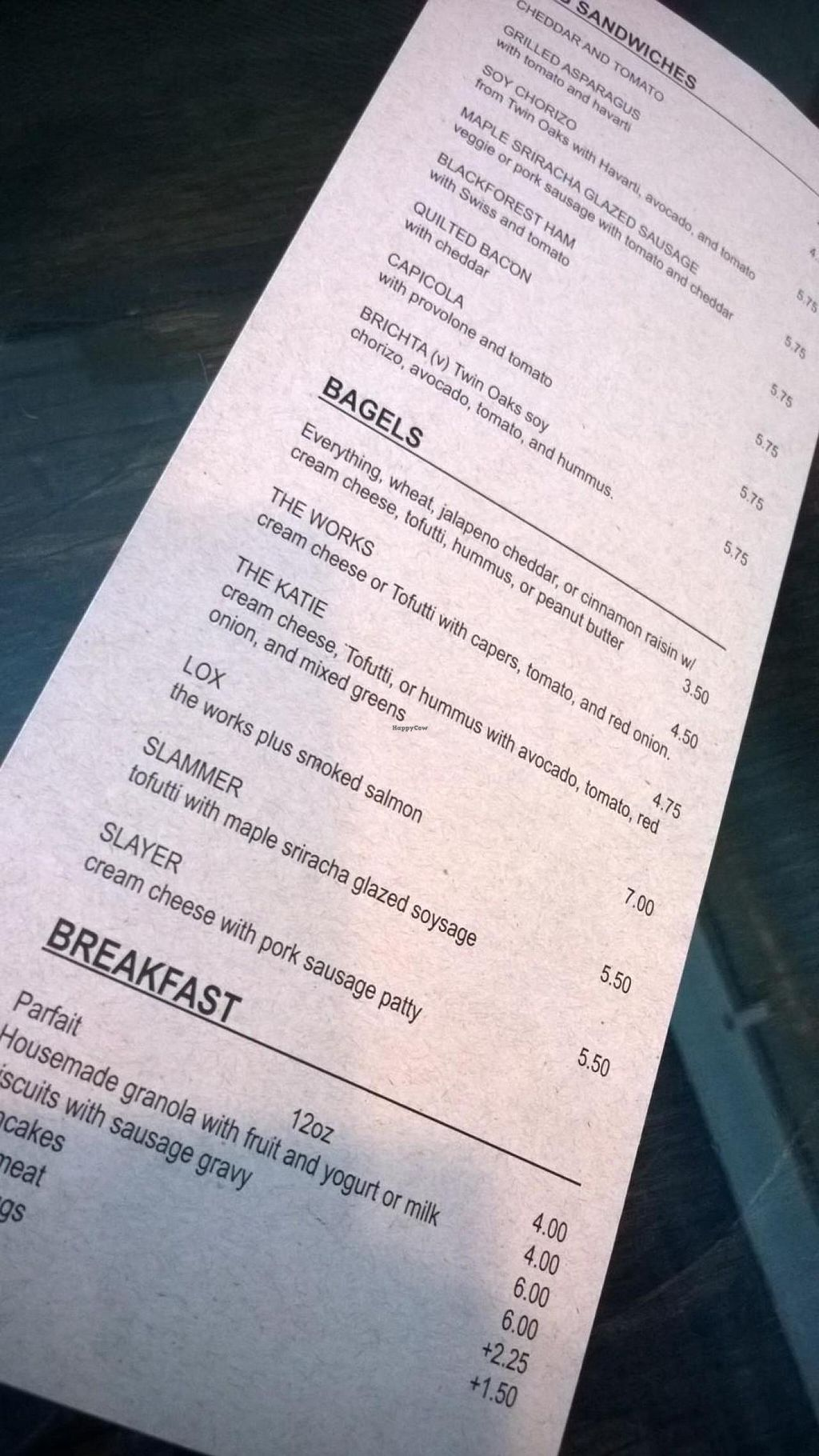 """Photo of Lamplighter - Morris St  by <a href=""""/members/profile/meredith"""">meredith</a> <br/>Breakfast Menu - Bagels, Sandwiches, etc.  <br/> April 17, 2014  - <a href='/contact/abuse/image/46591/67778'>Report</a>"""