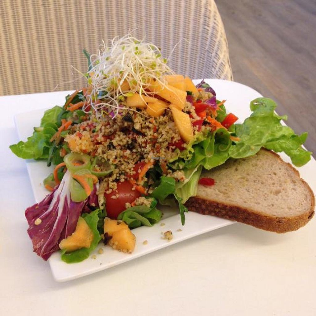 """Photo of Zurueck zum Glueck  by <a href=""""/members/profile/AndyT"""">AndyT</a> <br/>Salad with mango and mint cous-cous - vegan, half-size portion <br/> April 19, 2014  - <a href='/contact/abuse/image/46613/67950'>Report</a>"""