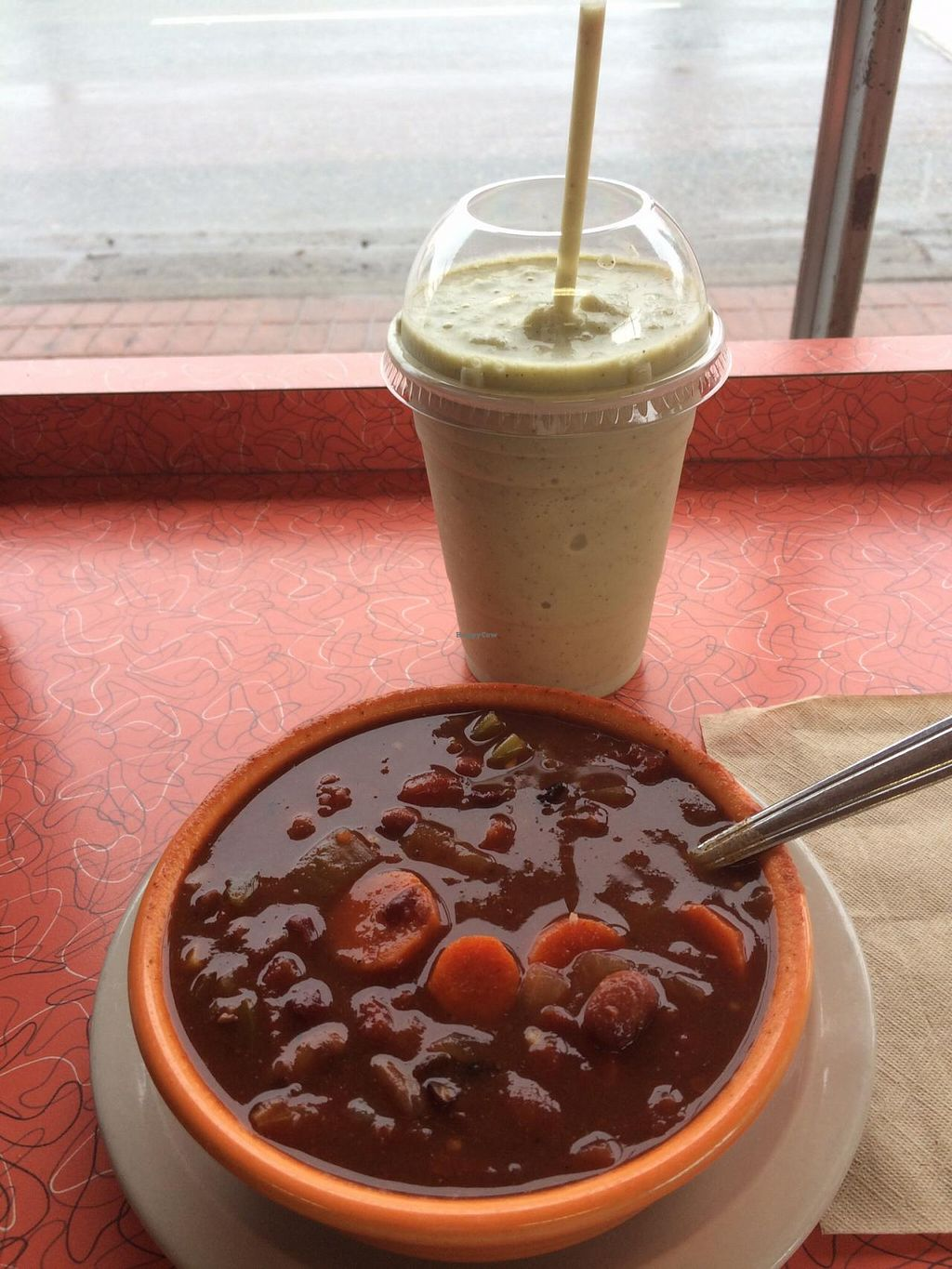 """Photo of Brewed Awakenings  by <a href=""""/members/profile/martinelisa"""">martinelisa</a> <br/>Vegetarian chili and tea smoothie <br/> March 31, 2015  - <a href='/contact/abuse/image/46618/97484'>Report</a>"""