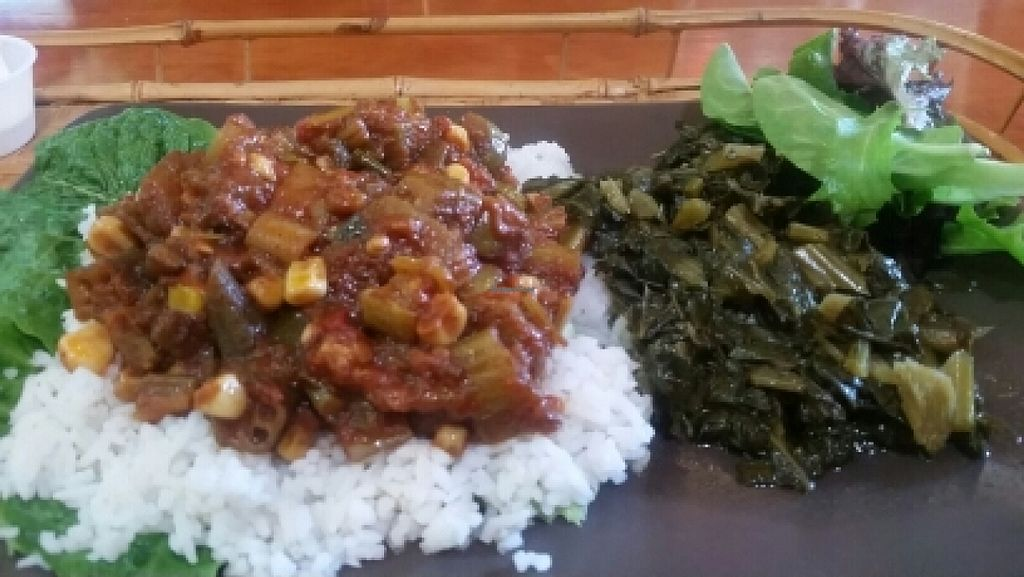 """Photo of WorldBeat Cafe  by <a href=""""/members/profile/kenvegan"""">kenvegan</a> <br/>vegan gumbo with collards <br/> January 15, 2016  - <a href='/contact/abuse/image/46625/132489'>Report</a>"""