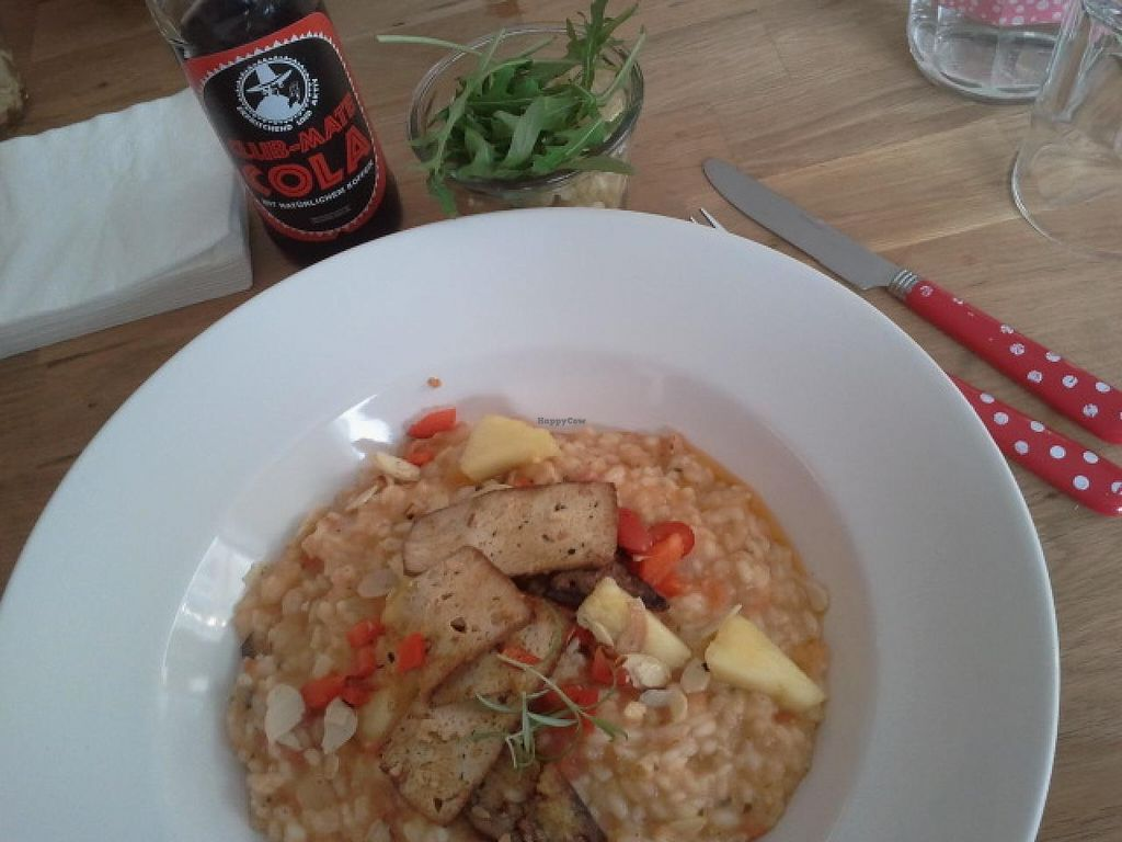 """Photo of Die Zauberei  by <a href=""""/members/profile/Pareidolise"""">Pareidolise</a> <br/>risotto with baked tofu slices <br/> March 23, 2015  - <a href='/contact/abuse/image/46632/96768'>Report</a>"""