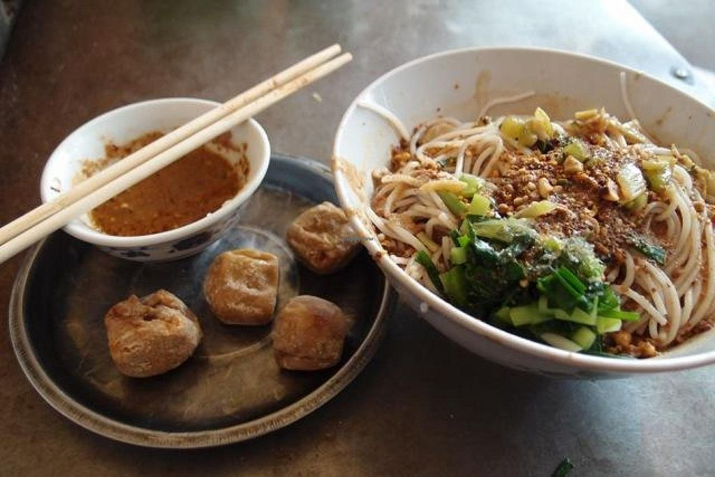 Photo of Wenjun  by Vegreg <br/>Noodle soup and grilled tofu <br/> April 21, 2014  - <a href='/contact/abuse/image/46634/68135'>Report</a>