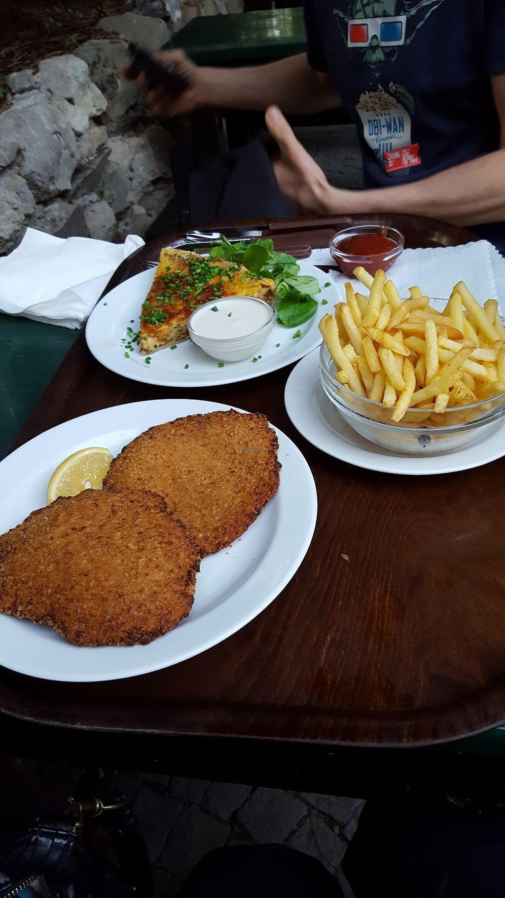 """Photo of Weingut Feuerwehr Wagner  by <a href=""""/members/profile/ElenaBre"""">ElenaBre</a> <br/>vegan schnitzel and quiche <br/> July 26, 2016  - <a href='/contact/abuse/image/46646/162379'>Report</a>"""