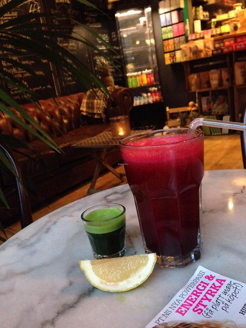 """Photo of Fruits and Friends Juicebar  by <a href=""""/members/profile/anderssonfelice"""">anderssonfelice</a> <br/>'Beet me' juice (beet root, ginger, celery etc) and a wheat grass shot <br/> December 30, 2014  - <a href='/contact/abuse/image/46659/89000'>Report</a>"""