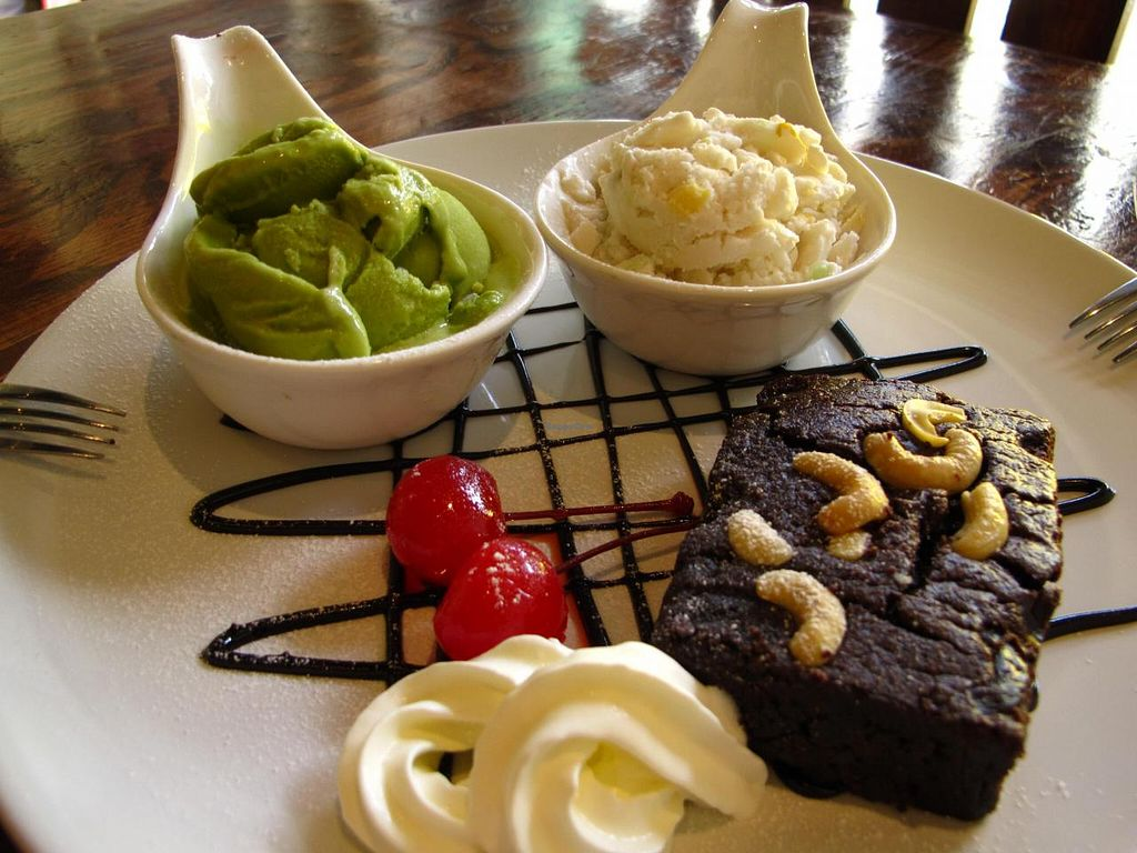 """Photo of Mango  by <a href=""""/members/profile/reissausta%20ja%20ruokaa"""">reissausta ja ruokaa</a> <br/>vegan brownie with green tea and coconut ice cream <br/> May 13, 2014  - <a href='/contact/abuse/image/46661/69887'>Report</a>"""