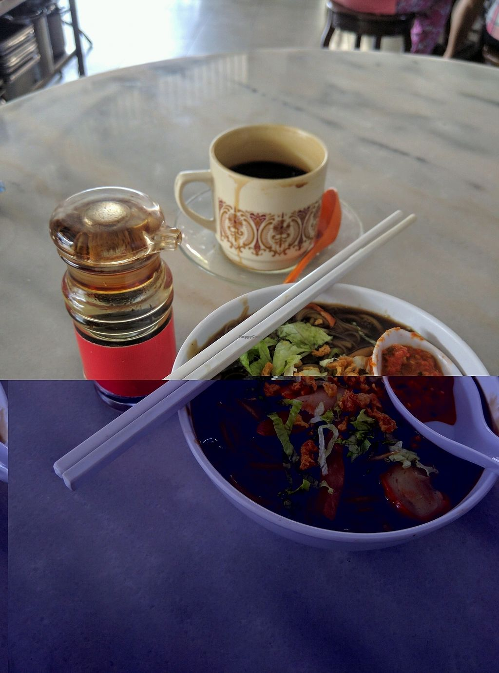"""Photo of CLOSED: Shan Lai Vegetarian Stall  by <a href=""""/members/profile/Summer_Tan"""">Summer_Tan</a> <br/>Vegetarian Lor Mee with Mock Meat, Mushrooms, Tofu. Request for Chilli (kinda lime Sambal) and Black Vinegar to really make it tasty! Black Coffee from Asia Cafe = Cheap and good! Definitely a good vegetarian alternatives to the usual hawker food <br/> January 28, 2018  - <a href='/contact/abuse/image/46713/351992'>Report</a>"""