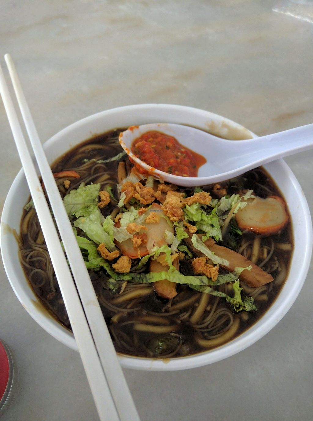 """Photo of CLOSED: Shan Lai Vegetarian Stall  by <a href=""""/members/profile/Summer_Tan"""">Summer_Tan</a> <br/>Vegetarian Lor Mee with Mock Meat, Mushrooms, Tofu. Request for Chilli (kinda lime Sambal) and Black Vinegar to really make it tasty! = Cheap and good! Definitely a good vegetarian alternatives to the usual hawker food <br/> January 28, 2018  - <a href='/contact/abuse/image/46713/351994'>Report</a>"""