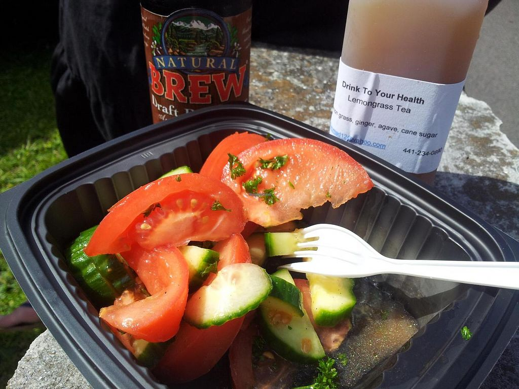 """Photo of Green Lite Cafe  by <a href=""""/members/profile/HeatherNicholds"""">HeatherNicholds</a> <br/>cucumber-tomato salad + drinks <br/> July 9, 2014  - <a href='/contact/abuse/image/46730/73592'>Report</a>"""