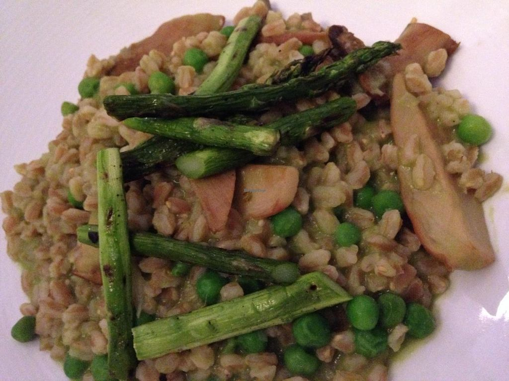 "Photo of Equinox Restaurant  by <a href=""/members/profile/cookiem"">cookiem</a> <br/>Farro risotto with English peas, asparagus and trumpet mushrooms <br/> April 22, 2014  - <a href='/contact/abuse/image/46752/68312'>Report</a>"