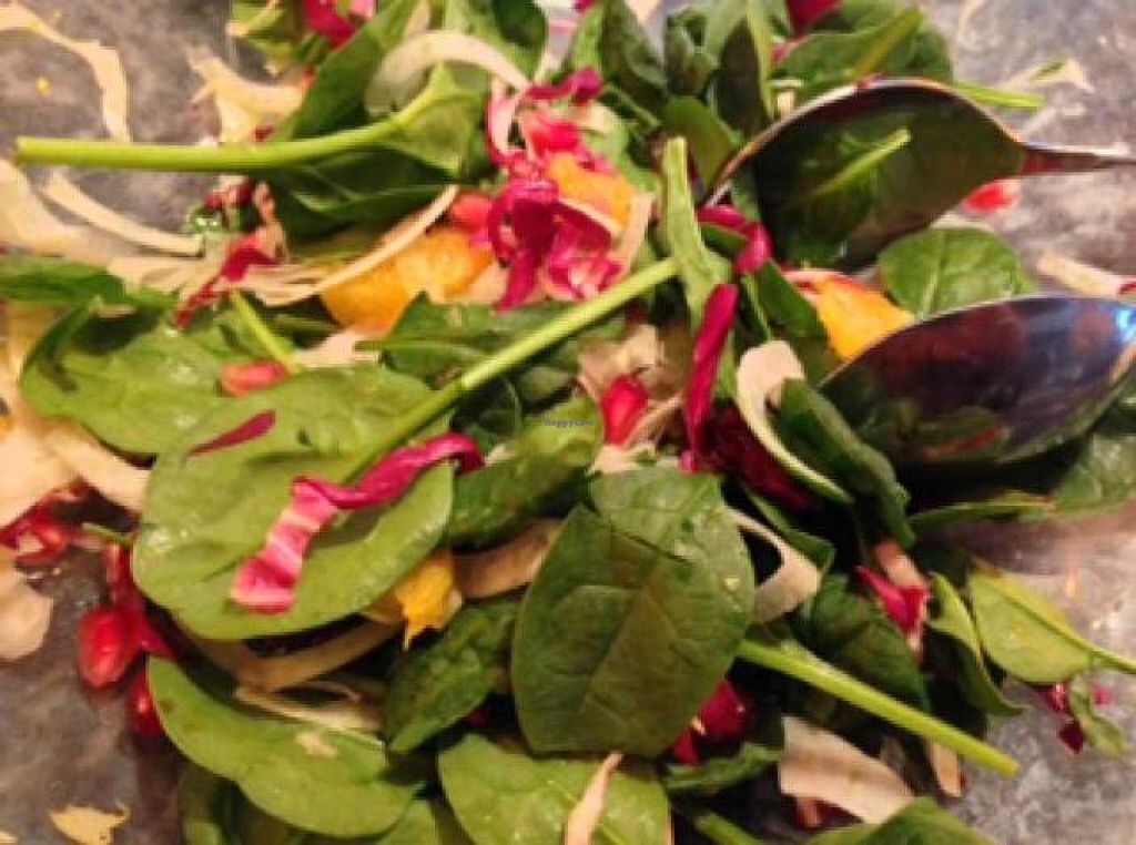 "Photo of Equinox Restaurant  by <a href=""/members/profile/happycowgirl"">happycowgirl</a> <br/>Baby Spinach Salad with fennel & pomegranite <br/> October 26, 2014  - <a href='/contact/abuse/image/46752/84005'>Report</a>"