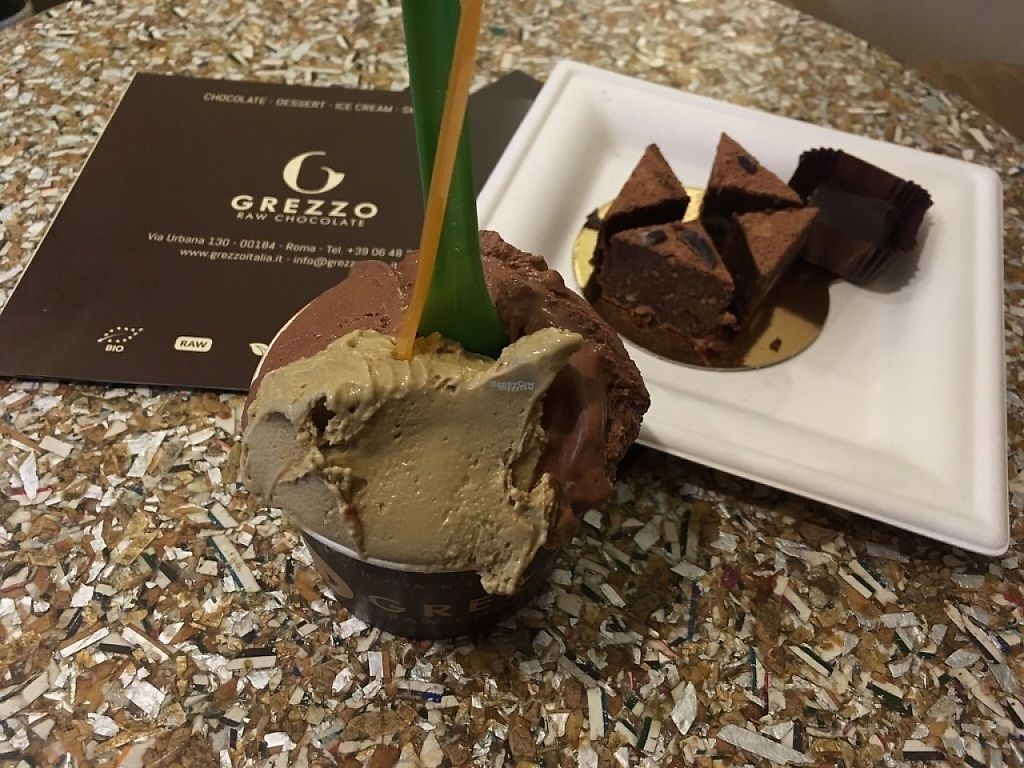 "Photo of Grezzo Raw Chocolate  by <a href=""/members/profile/SuzyJones"">SuzyJones</a> <br/>Chocolate and pistachio gelato, raw chocolate brownie, 80% truffle <br/> April 10, 2017  - <a href='/contact/abuse/image/46755/246778'>Report</a>"