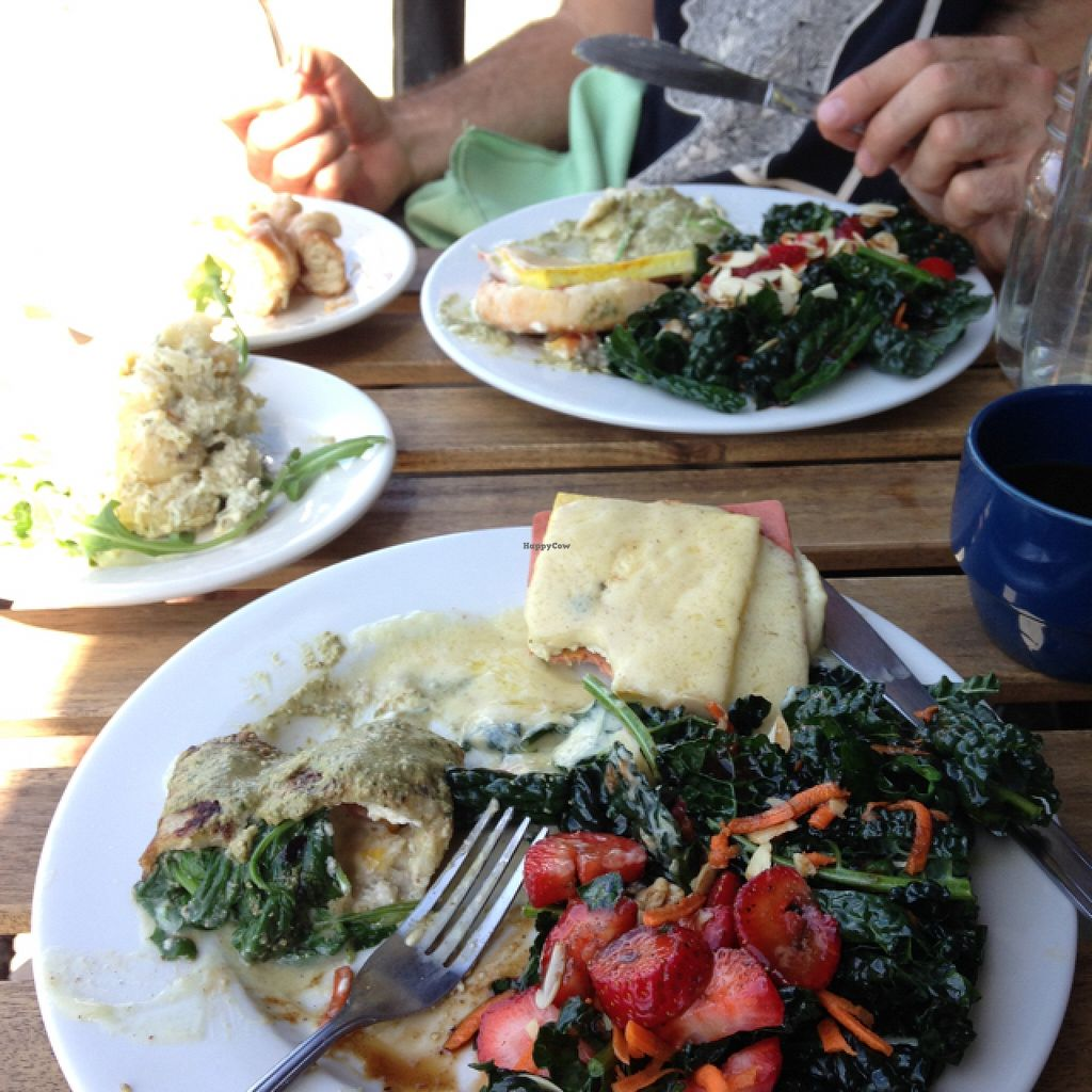"Photo of Two Mammas Vegan Kitchen  by <a href=""/members/profile/AliciaPiccolina"">AliciaPiccolina</a> <br/>Splitting two brunch entrees: the savory crepe and the tofu benedict with kale side salad (with strawberries, almonds, carrot and a balsamic vinaigrette). Yummy! <br/> August 23, 2015  - <a href='/contact/abuse/image/46820/114872'>Report</a>"