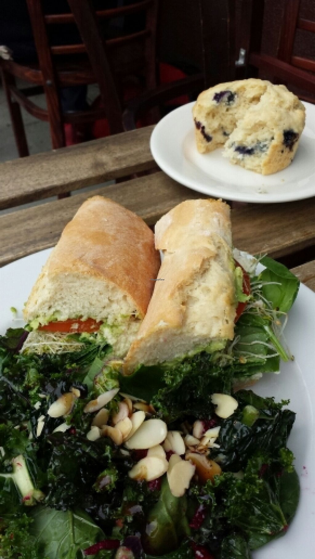 "Photo of Two Mammas Vegan Kitchen  by <a href=""/members/profile/stixx"">stixx</a> <br/>Italian sandwich, kale, spinach salad and blueberry muffin <br/> April 8, 2016  - <a href='/contact/abuse/image/46820/143446'>Report</a>"