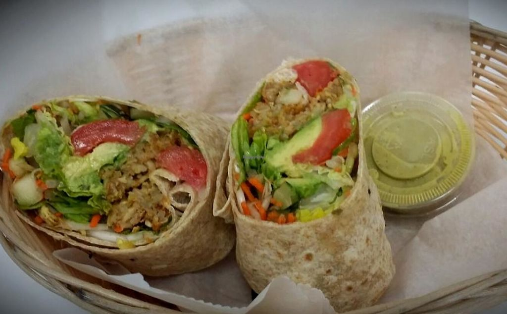 """Photo of Carrot Express  by <a href=""""/members/profile/PabloLucero"""">PabloLucero</a> <br/>Veggie burger wrap <br/> May 14, 2014  - <a href='/contact/abuse/image/46851/196700'>Report</a>"""