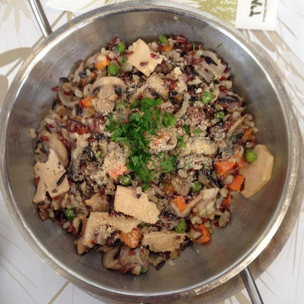 """Photo of Cafe Louise - Ramat HaHayal  by <a href=""""/members/profile/Brok%20O.%20Lee"""">Brok O. Lee</a> <br/>Vegan Paella with wild rice, mushrooms and tofu <br/> April 27, 2014  - <a href='/contact/abuse/image/46853/68770'>Report</a>"""