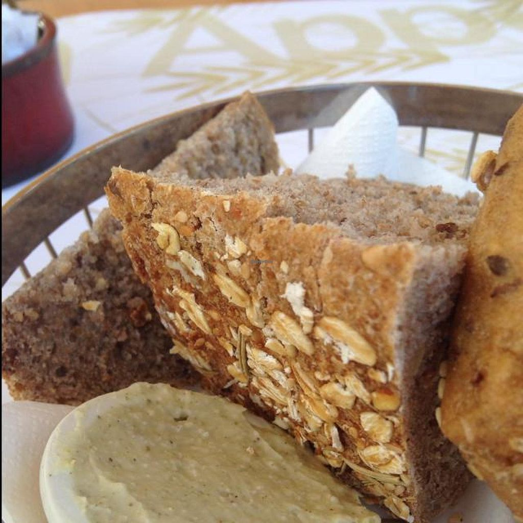 """Photo of CLOSED: Cafe Louise - Ramat Aviv  by <a href=""""/members/profile/Brok%20O.%20Lee"""">Brok O. Lee</a> <br/>Vegan Breads and Lemon/Olive Oil Spread <br/> October 9, 2014  - <a href='/contact/abuse/image/46870/82419'>Report</a>"""