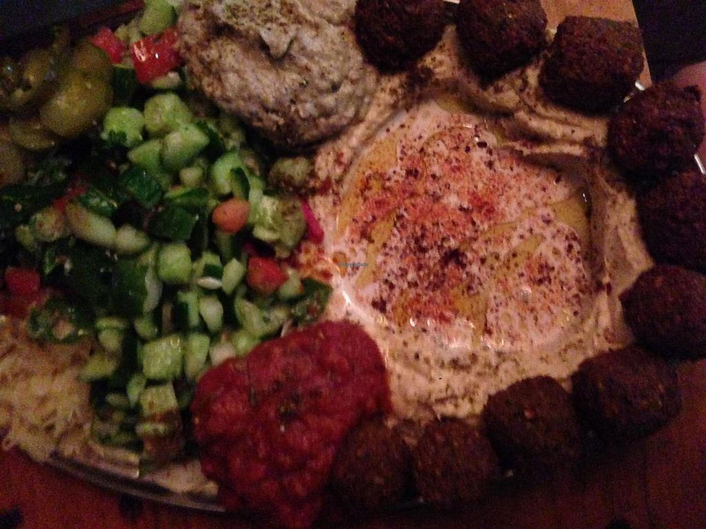 "Photo of Orgasmic  by <a href=""/members/profile/chantea"">chantea</a> <br/>Mediterranean platter: hommus, felafel, cabbage, salsa, pickles, tabouli, sauerkraut with pita <br/> April 28, 2014  - <a href='/contact/abuse/image/46871/68805'>Report</a>"