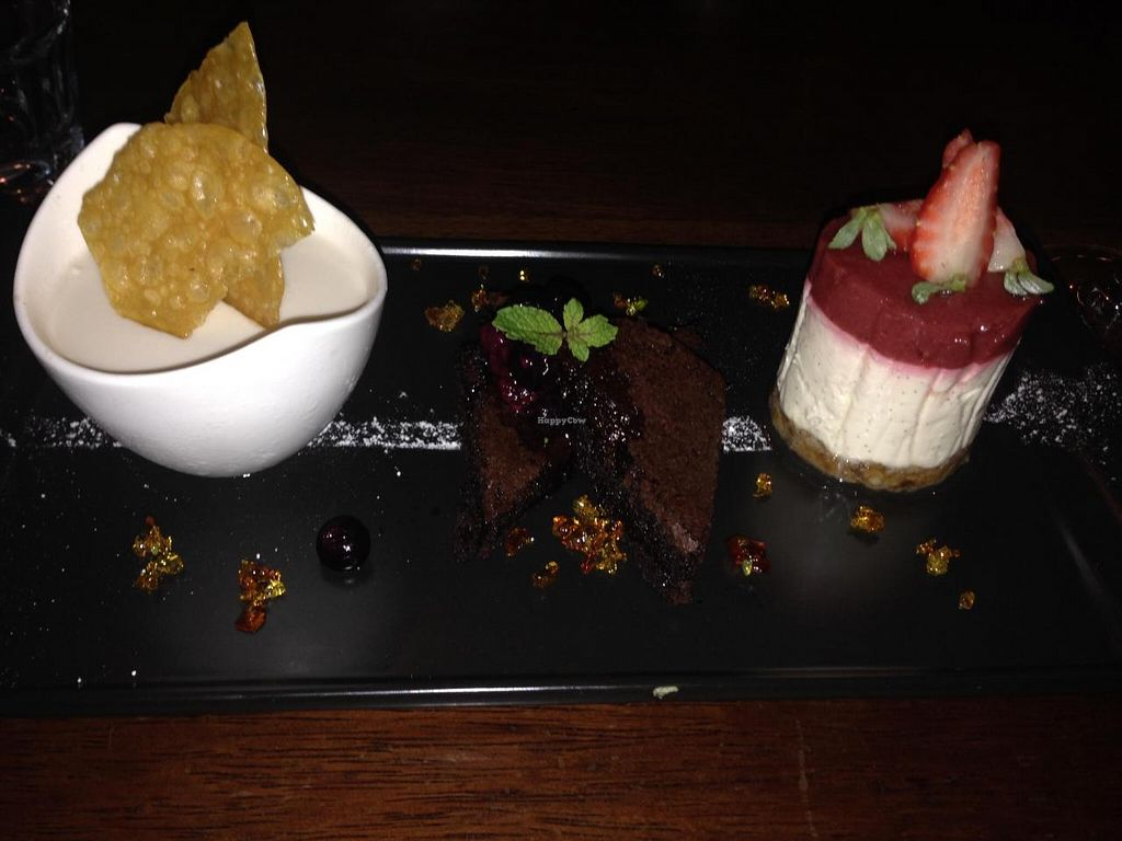 "Photo of Vivo Bar and Grill  by <a href=""/members/profile/chantea"">chantea</a> <br/>Trio of dessert: strawberry cheesecake, coconut/kaffir lime blancmange, chocolate brownie <br/> April 28, 2014  - <a href='/contact/abuse/image/46873/68809'>Report</a>"
