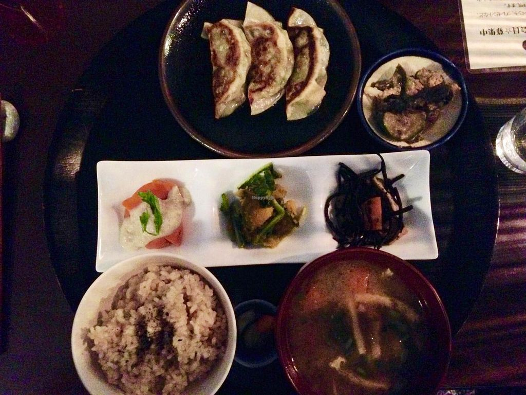 """Photo of Komenoko  by <a href=""""/members/profile/Parthenope"""">Parthenope</a> <br/>Set menu. Yakigyoza, 4 side dishes, medium rice. Around 1600 yen <br/> June 14, 2015  - <a href='/contact/abuse/image/46924/105996'>Report</a>"""
